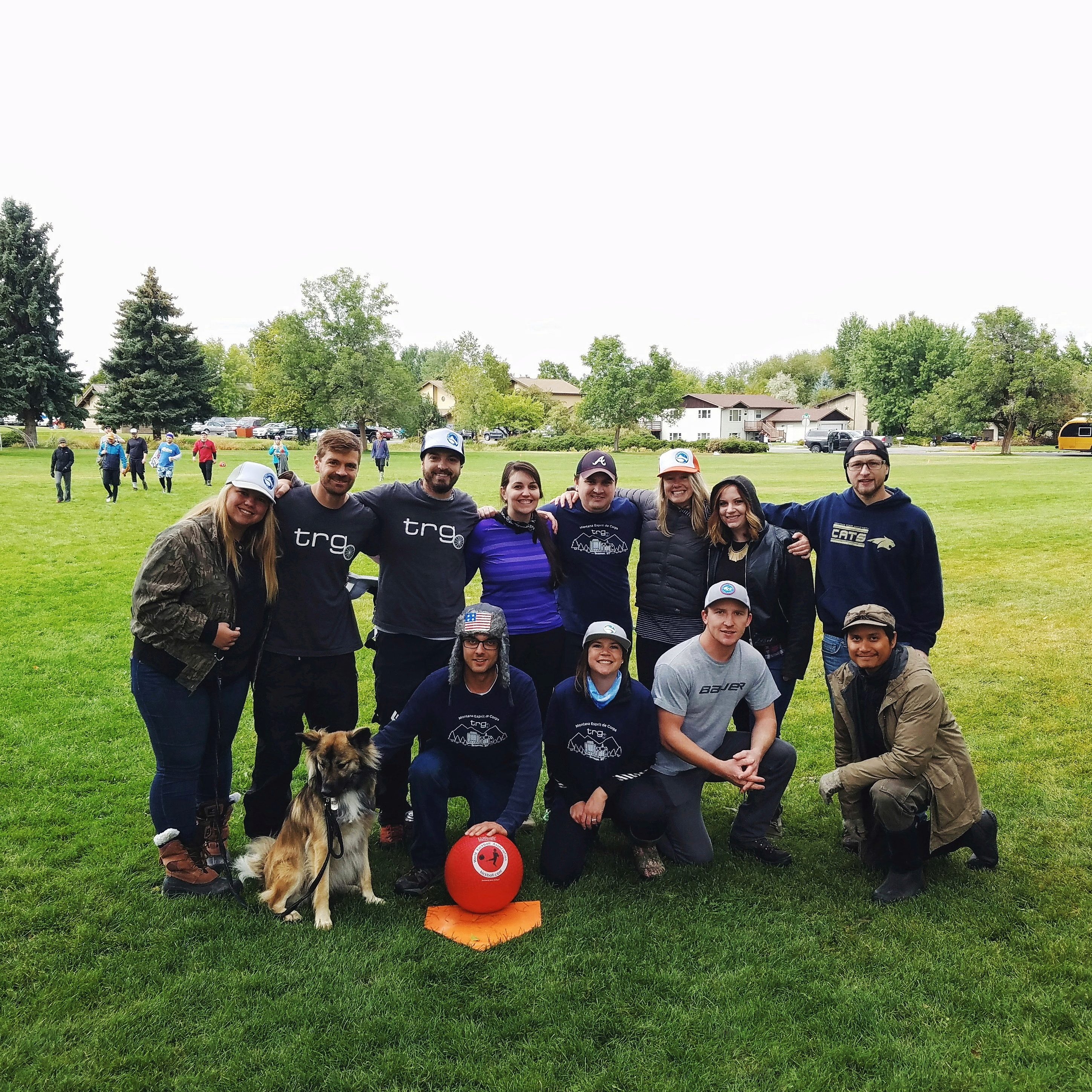 The Trade Risk Guaranty team joins the fundraising kickball tournament organized by Big Sky Youth Empowerment.